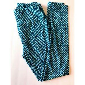 Crazy Square Spiral Aqua/Blue Lularoe Leggings